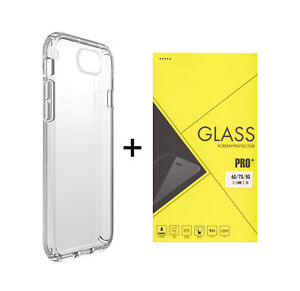 Tempered Glass Screen Protector for Apple iPhone 6, 7, 8 and Clear Gel case