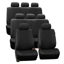 Black Deluxe Perforated Leatherette 8 Seater 3 Row Set Split Bench Seat Covers