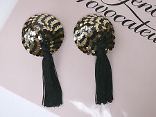 AGENT PROVOCATEUR TASSLED SEQUINED PASTIES BLACK/GOLD BRAND NEW ONESIZE