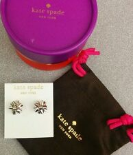 NWT Sterling Silver ✦ Kate Spade Bourgeois Bow Stud Earrings Gift Box AUTHENTIC