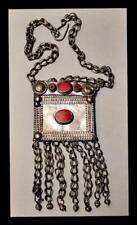 ANTIQUE  OLD TRIBAL INDIA  RAJASTHAN ? AFRICA?  SILVER  PENDANT VERY OLD CHAIN
