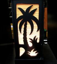 ASIAN COCONUT TREE THE BEACH WOOD&BAMBOO TABLE LAMP DECOR SHADES LIGHT BEDSIDE