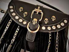 Black Leather Fringe Skulls & Rhinestones Crossbody Purse Handbag Pouch +Tassel
