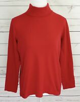 Croft & Barrow Top Womens Large L Red Solid Turtleneck Long Sleeve 100% Cotton