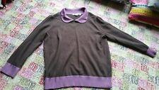 Boden Merino Collared brown and purple heather Sweater WK877 12 Peter Pan 3/4 sl