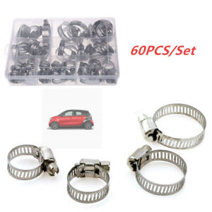 60Pcs Stainless Steel Hose Pipe Hoop Strong Hose Clamps Wire Assorted Kit +Box