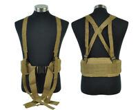 Tactical Military Molle Waist Belt Padded Battle Combat Belt with Suspender Tan