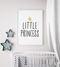 Little Princess Crown Black U0026 White Print Nursery Kid Baby Girl Room Art  Picture