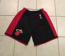 Men's Champion Miami Heat Basketball Jersey Shorts Black Red Game Vtg 40-42 XL