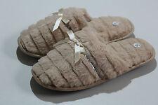Señoras Mujeres Beige Peludo Suave Cálido Mula Pantuflas Zapatillas de Casa Cálido
