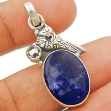 Natural Blue Howlite & Opalite 925 Sterling Silver Pendant Jewelry ED20-7