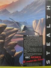 1/1991 PUB GEC AVIONICS STEALTH FIGHTER HELICOPTER DATA SENSOR DISPLAY AD