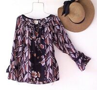 New~Medium~Fig Flower~Black White Spice Brown Blouse Shirt Fall Boho Top~8/10/M