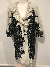 George Cross Ruffle Black Floral Long Winter Jacket  14