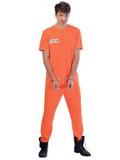 Mens Orange Convict Prisoner Chain Gang Stag Party Halloween Fancy Dress Costume