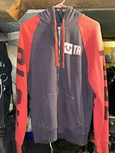 True Religion TR Zip Up Hoodie Sweatshirt Mens Large Red Blue