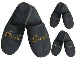 Black Personalised Spa Slippers for Wedding Bride Bridesmaid Groom Bridal Party