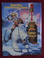 1993 Print Ad Rumple Minze Schnapps ~ Sexy Warrior Girl Polar Bear Fantasy Art