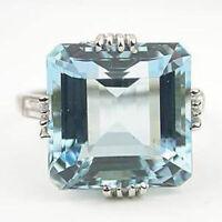 925 Silver Women Jewelry Aquamarine Gemstone Wedding Bridal Ring Size 6-10