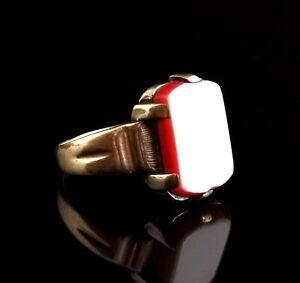 Vintage Art Deco 9ct gold signet ring, Carnelian