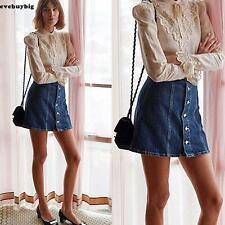 Fashion Women High Waisted Button-Down Denim A-Line Mini Skirt Dark Blue
