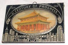 VINTAGE CENTURY OF PROGRESS CHICAGO WORLDS FAIR GOLDEN TEMPLE JEHOL PLAQUE SIGN