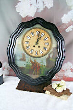 French ' Oeil de boeuf' wall clock 1880 oil on copper marine painting rare