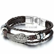 Men's Women's Angel Wing Charm Braided Leather Bracelet Cuff Bangle Wristband