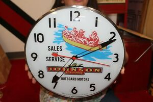 """Johnson Outboard Boat Motors Fishing Gas Oil 15"""" Lighted Metal Pam Clock Sign"""