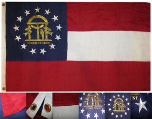 5x8 Embroidered Sewn State of Georgia 600D Nylon Flag 5'x8'