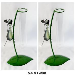 Glass Metal Vase Novelty Flower Bud Holder Garden Mouse Sold in Pack of 2