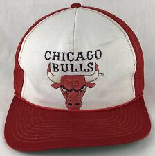 Vintage Chicago Bulls Trucker Mesh Snapback Hat Cap NBA Twins Red White Bull