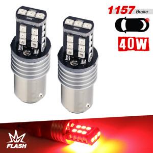 2x 1157 LED Bright Red Flash Strobe Tail/Rear Brake Stop Alert Safe Lights
