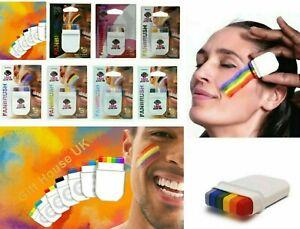 LGBT Rainbow Pride Face Paint Crayon Set Trans Bisexual Lesbian Flag Fan-brush