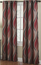 """No. 918 Intersect Wave Print Casual Textured Curtain Panel, 48"""" x 84"""", Paprik…"""