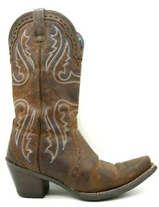 Ariat ATS Brown Leather Blue Stitched Cowboy Western Boots Women's 7 B
