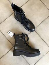 Zara Flat Black Leather Military Biker Chunky Sole Ankle Boots UK6 EU39 US8 #707