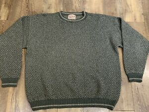 Woolrich Blue  Men's Vintage Cable Outdoorwear Wool Sweater USA Made Size XL