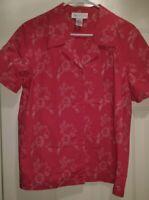 Susan Graver NWOT Womens Pink White Floral Button Down Shirt Top Blouse Size M