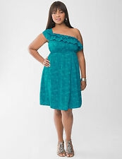 Lane Bryant  Plus 20 22 2X TEAL BLUE Palm Ruffled One Cold Shoulder Dress NeW