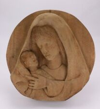 """Mary & Baby Jesus Wood Vtg Hand Carved Art  10""""  Décor  Religious Plaque Signed"""