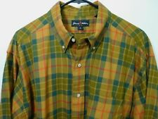 Johnnie Walker Plaid Casual Shirt Men's Large Gold Green Brown Blue & Red L/S
