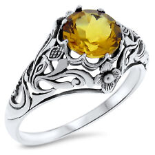 2 Ct HYDRO CITRINE ANTIQUE STYLE NOUVEAU .925 STERLING SILVER  RING Sz 8,  #377