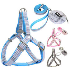Step In Dog Harness and Leash and Treat Bag Chihuahua Adjustable Pink Blue Gray