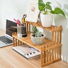 Tabletop Shelf Plant Stand Organizer Display Wooden 2 Tier Desktop Bamboo Rack