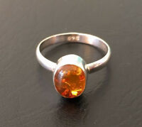 925 Sterling Silver Baltic Amber Ring Gemstone Solitaire Stackable Size 6 7 8 9