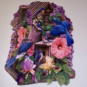 WENTWORTH Wooden Puzzle RARE OOP Shaped Edge Blue Birds Flowers R Cobane Liberty