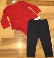 Baby Gap Girls 6-12 Months Outfit. Red Lace Shirt & Denim Blue Leggings. Nwt