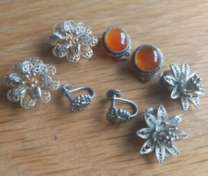 JOB LOT X4 PAIRS VINTAGE STERLING SILVER CLIP ON EARRINGS