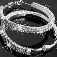 Damen Mädchen Ohrschmuck Ohrringe Chic Elegante Diamant Strass Creolen Schmuck